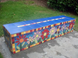 A bench created by the local community for Luckwell Park.