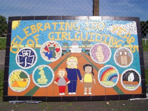 Mural created by the Girl Guides & Brownies of Clevedon as part of their 100th anniversary.