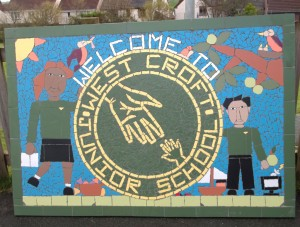 Part of a whole school project to create this entrance mural by West Croft Junior School.