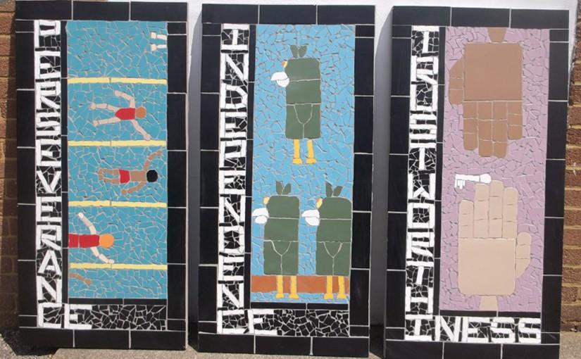 Three of twelve values created at Field End Junior School.