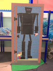 A project to create 22 children's book themed mosaics (this one being The Iron Giant) for Bishop Rd Primary School