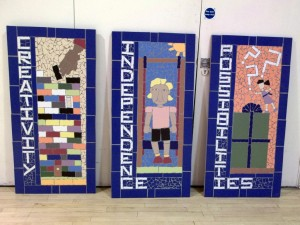 Three murals created at Charborough Road Primary School.