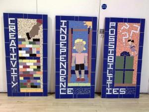 Three murals created at Charborough Road Primary School.