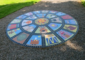 The 2.4m diameter floor mural was created for Halsway Manor by floor local Primary Schools.