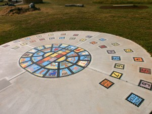 Human sundial create as part of a Bloor Homes development