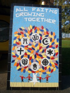 A multi faith mural created at Field End Junior School.