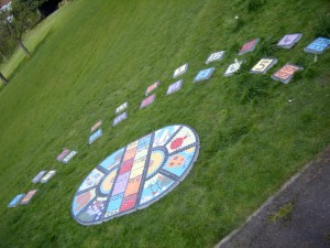 Sundial created for Perritts Park by a local primary School & community.