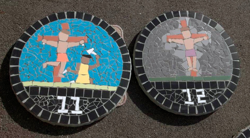 2 Stations of the Cross paving slabs created by St. Joseph's Primary School.